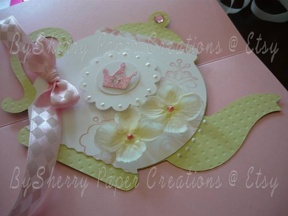 Princess Tea Party Birthday or Bridal Shower or Baby Shower Boutique Invitations Set of 10