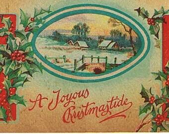 Vintage Christmas Postcard - Joyous Christmastide