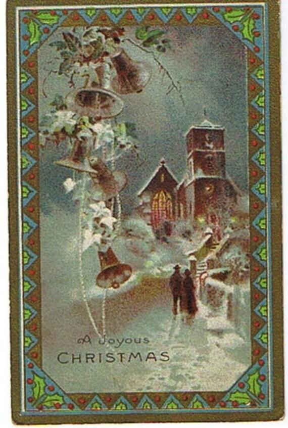 Vintage Postcard Christmas Postcard 1929  Church and Bells