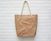 SALE-Kraftpaper fabric bag in Natural with cotton strap