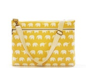 """13"""" Macbook or Laptop bag with zipper pocket and detachable shoulder strap - Yellow elephant-Ready to ship"""