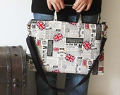 """SALE-15"""" Macbook or Laptop bag with handles and detachable shoulder strap- UK newspaper -Ready to ship"""