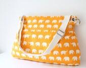 Women Messenger Bag Cross Body Purse wtih  Zipper closure - Orange elephant