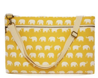 "15"" Macbook or Laptop bag with zipper pocket and detachable shoulder strap -Yellow Elephant -Ready to ship"