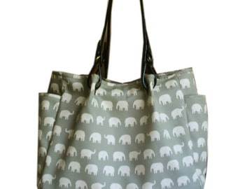 Gray elephant  tote bag with cow leather handles