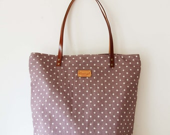 Polka dot tote bag with Genuine Leather Handles
