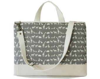 """SALE-13"""" Macbook or Laptop bag with handles and detachable shoulder strap-Zoo in Gray -Ready to ship"""