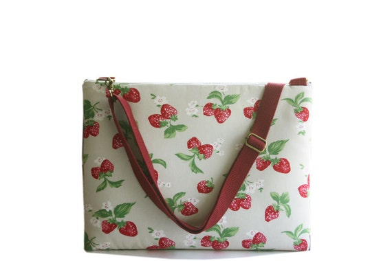 Laptop Sleeve For 13 inch MacBook with shoulder strap-Strawberry  -Ready to ship