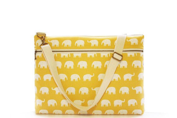 "13"" Macbook or Laptop bag with zipper pocket and detachable shoulder strap - Yellow elephant-Ready to ship"