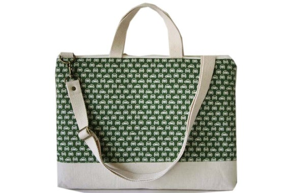 "13"" Macbook or Laptop bag with handles and detachable shoulder strap-Car in green -Ready to ship"