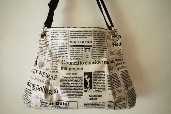 2 way Hobo bag  with shoulder strap-newspaper