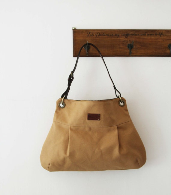 SALE-Shoulder  bag with cow leather strap - Mustard Yellow