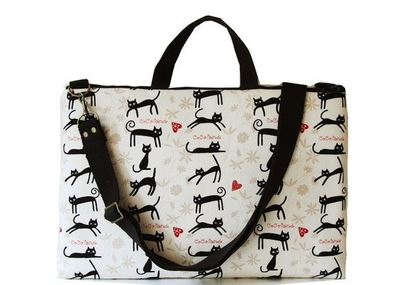 """15"""" Macbook or Laptop bag with handles and detachable shoulder strap- Cocoland of cat -Ready to ship"""