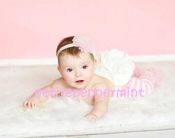 Baby Headband, baby girl headband, toddler headband - Light Pink Rosette Elastic Headband