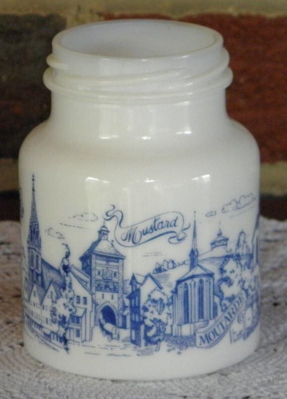 White glass Mustard Jar