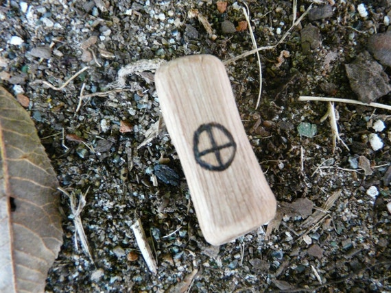 Carved oak solar cross pendant