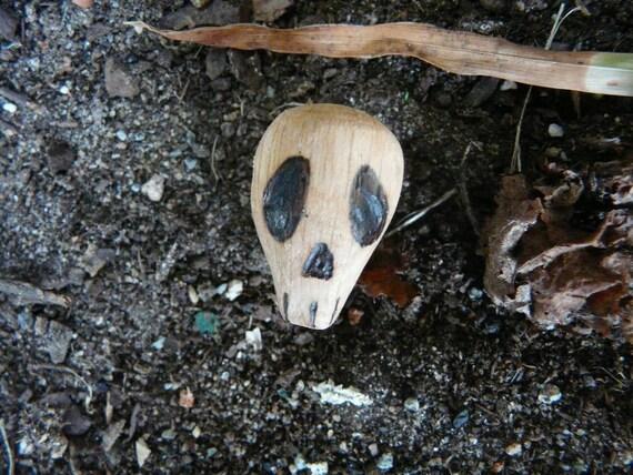 Carved oak skull Samhain charm