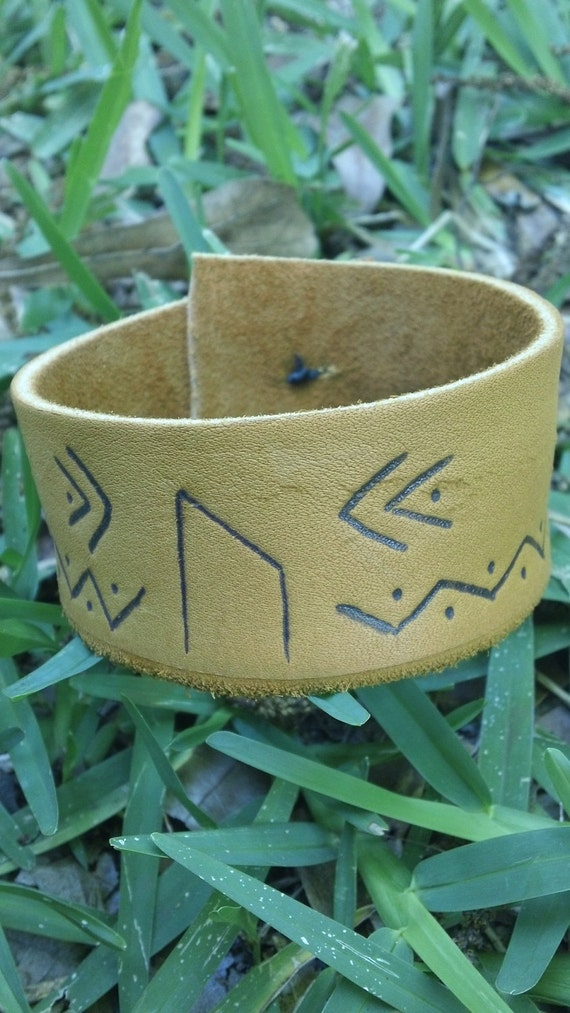 Primitive Strength Rune Leather Cuff with Antler Button