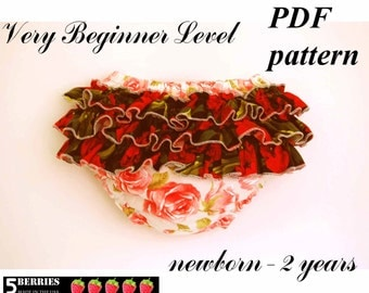 5 Berries Roses Diaper Cover Pattern + Free Mother-Daughter apron pattern, Baby Sewing Patterns, PDF, tutorial, girls, toddler, children