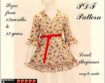 5 Berries GIRLS Dress Pattern + Free Mother-Daughter Apron Pattern, Sonya PDF Sewing Patterns for Children, Baby, Toddler, E Book