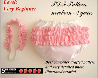 BABY PATTERNS, Girls Diaper Cover and Head Band + Free Mother-Daughter Apron Pattern, Toddler, Children's Sewing Patterns, PDF, Handmade
