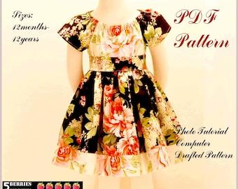 Olivia PEASANT DRESS PATTERN + Free Mother-Daughter Apron Pattern, Children's Sewing Patterns, Girls dress Patterns, pdf, baby, toddler