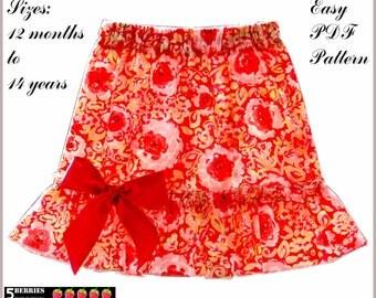 Jessica Girls TWIRL SKIRT PATTERN + Free Mother-Daughter Apron Pattern, pdf Sewing Patterns for Children, Baby, Toddler, Tutorial, 5Berries