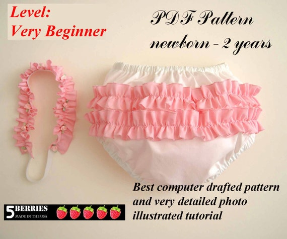 Diaper Cover Pattern with Head Band + Free Mother-Daughter Apron Pattern, PDF SEWING PATTERNS for Children, Baby, Toddler, Tutorial