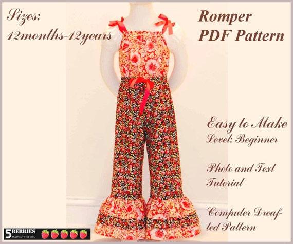 5Berries Paris Girls Romper PATTERN + Free Mother-Daughter Apron Pattern, PDF Children's Sewing Patterns toddler, Pillowcase Romper Pattern