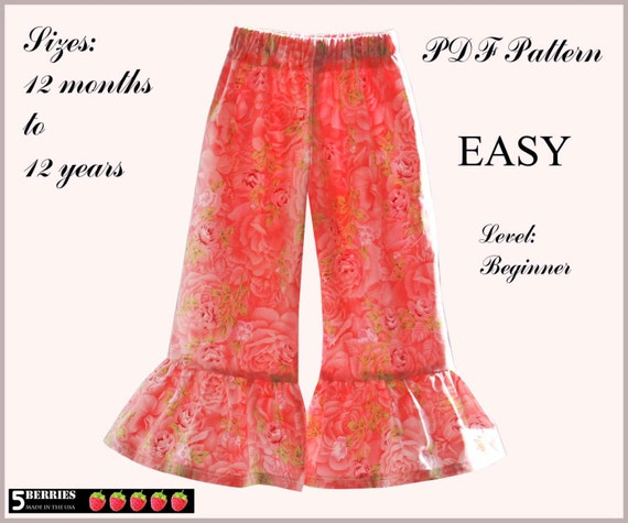 2 PATTERNS in ONE, Madrid Girls Pants PATTERN + Free Mother-Daughter Apron Pattern, Sewing Patterns for Children, Baby, Toddler,