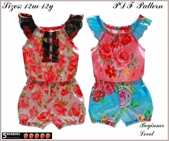 5Berries Charlotte Girls Romper PATTERN + Free Mother-Daughter Apron Pattern, PDF Sewing Patterns for Children, baby, toddler