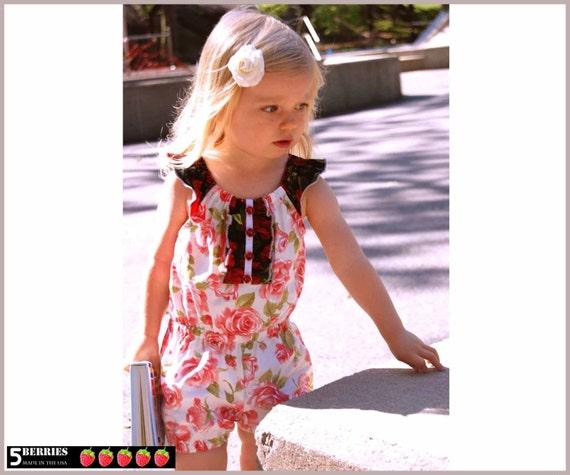 Charlotte Girls Romper Pattern + Free Mother-Daughter Apron Pattern, 12m-12y, PDF SEWING PATTERN for Children,Toddler, Tutorial, 5Berries