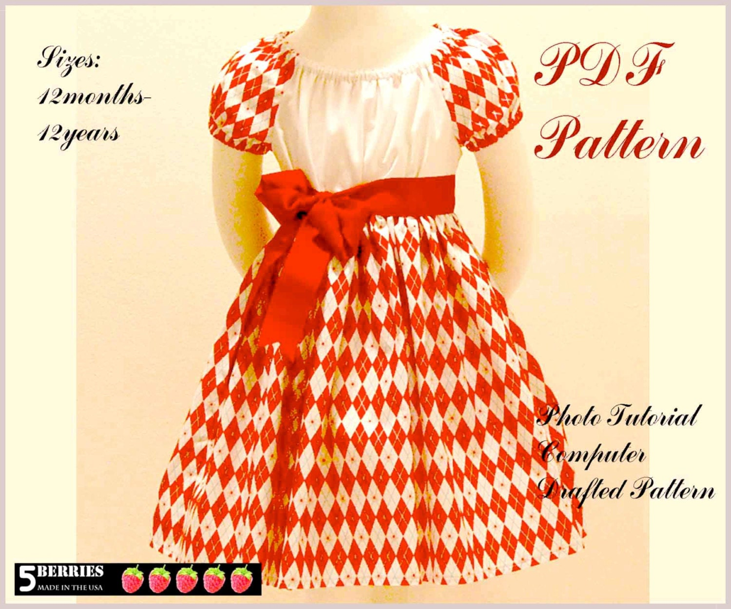 Olivia PEASANT DRESS PATTERN Free Mother Daughter Apron