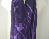Lavender Fields ultra long hand painted crepe silk sarong/scarf