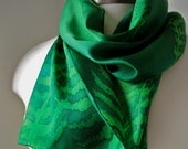 Silk Scarf, Hand Painted, Petite - Dragonflies and Ferns in Peridot and Emerald - Ready to Ship