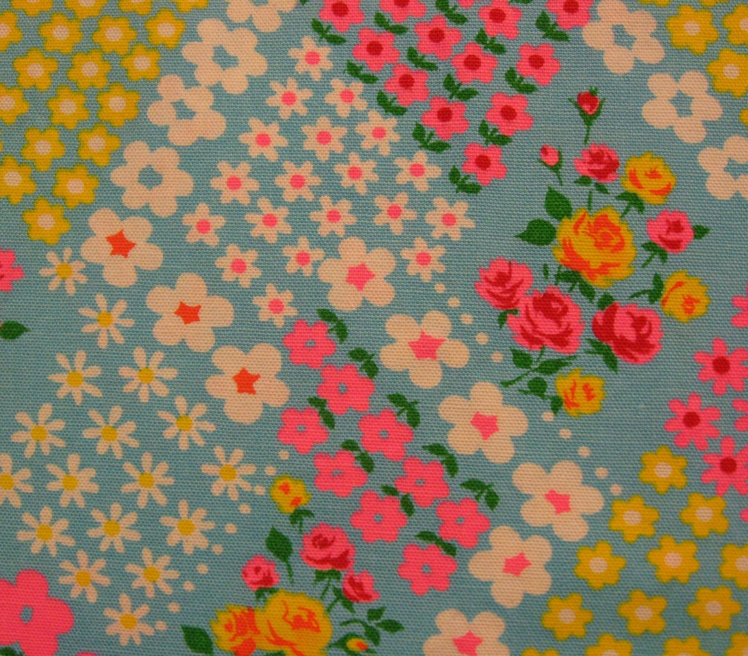 Vintage fabric daisies galore on blue for Fabric purchase