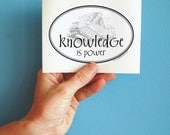knowledge is power oval sticker