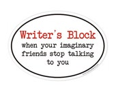 writer's block oval sticker
