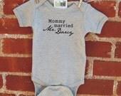 Mommy married Mr. Darcy baby bodysuit
