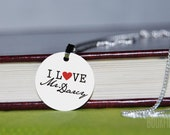 I love Mr. Darcy charm necklace