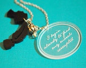 Corrupted morals of Jane Austen engraved silhouette necklace