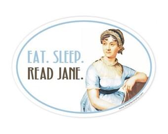 eat sleep read Jane Austen bumper sticker