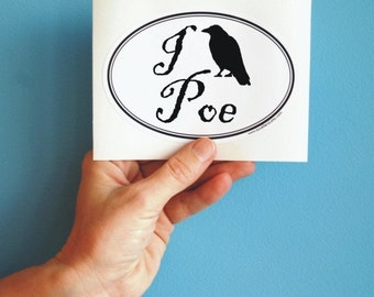 i love poe raven oval sticker