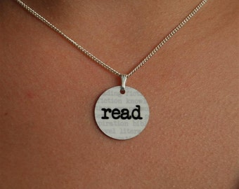read charm necklace