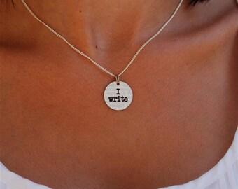 i write charm necklace