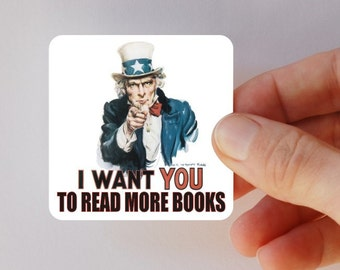 Uncle Sam read more books square magnet