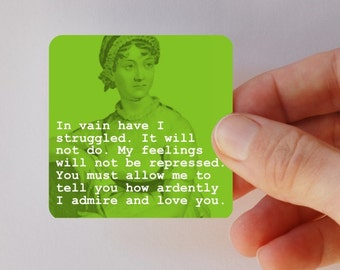 JANE AUSTEN in vain have I struggled square magnet