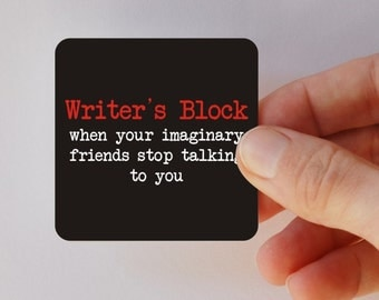 writer's block square magnet
