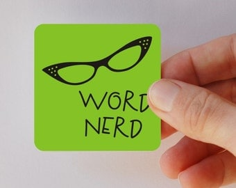 word nerd square magnet