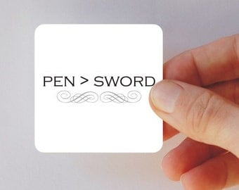 pen is mightier than the sword square magnet